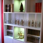 Bibliothèque avec vitrine coulissante