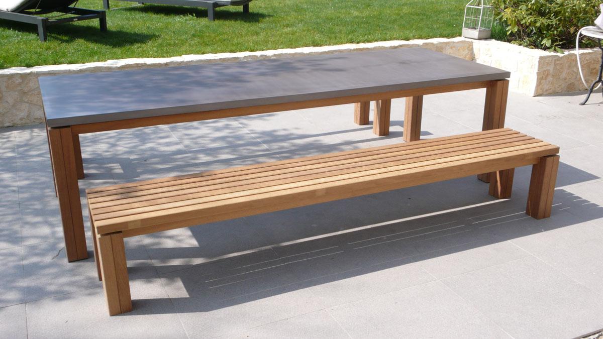 Table En Béton Ciré Et Bois table de jardin plateau en béton ciré. - yves jaffré agencements